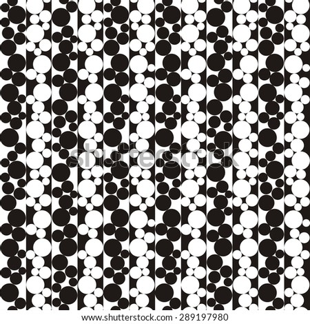 Illustration of seamless black-and-white geometric pattern with circles. Raster version - stock photo
