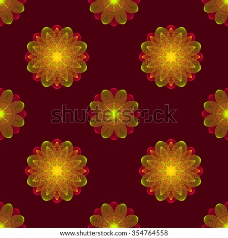 Illustration of seamless pattern of floral ornament on a burgundy background. - stock photo