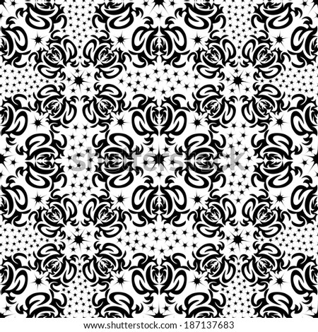 Illustration of seamless texture with decorative ornaments.