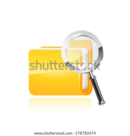illustration of search concept with yellow folder icon and . raster copy. - stock photo
