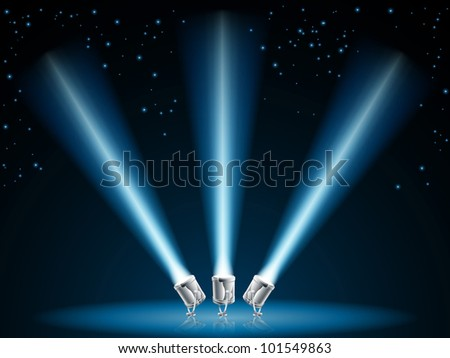 Illustration of search lights or spot lights pointing into dark sky with stars