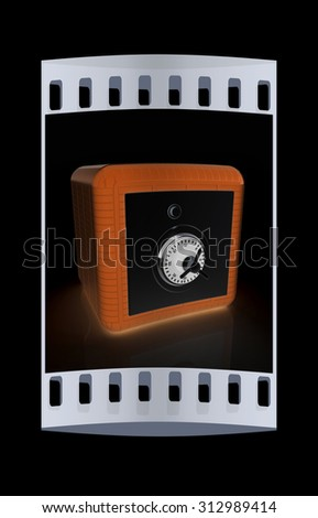 illustration of security concept with metal safe. The film strip