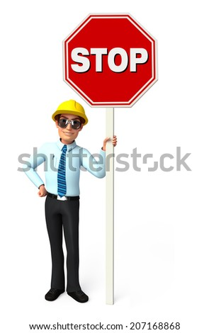 Illustration of service man with Stop sign