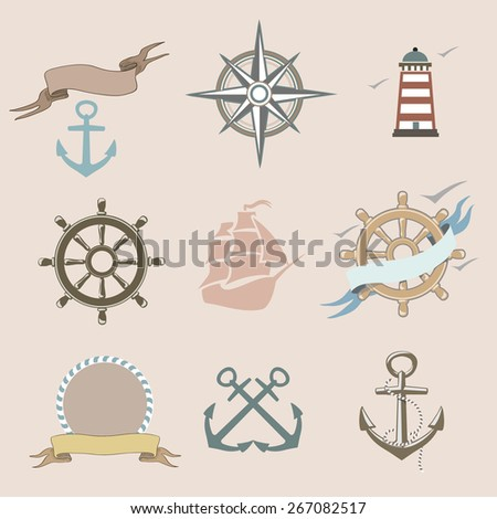 Illustration of set marine  icons nautical elements