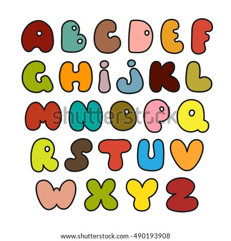 Illustration of set of colorful alphabets.