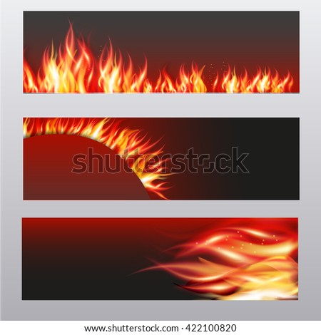 illustration of set of fire flame banner. - stock photo