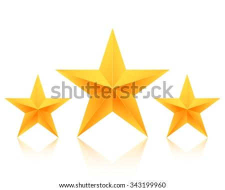 Illustration of Set of Gold Stars Icon. Best Rating Gold Star Template - stock photo