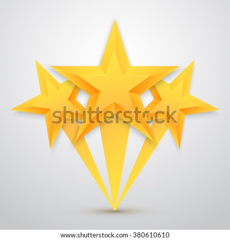 Illustration of Set of Gold Stars Icon. Five Stars Icon Template. Best Rating Gold Star Icon - stock photo