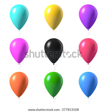 Illustration of Set of Photorealistic Air Balloons Isolated on White Background