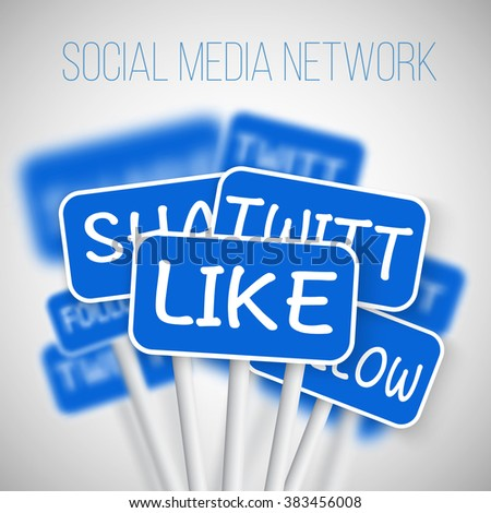 Illustration of Set of Social Media Network Road Signs. include Like Share, Follow. For your Social Media Banner, Icon, Blog or Social Media Advertising. - stock photo