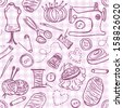 Illustration of sewing doodles on seamless pattern background - stock photo