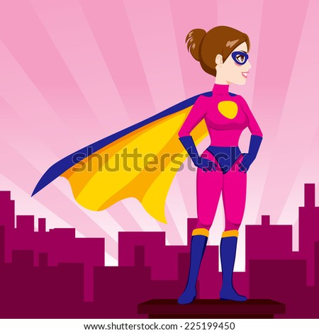 Illustration of sexy beautiful woman hands on hips pose with superhero costume watching over city skyline - stock photo