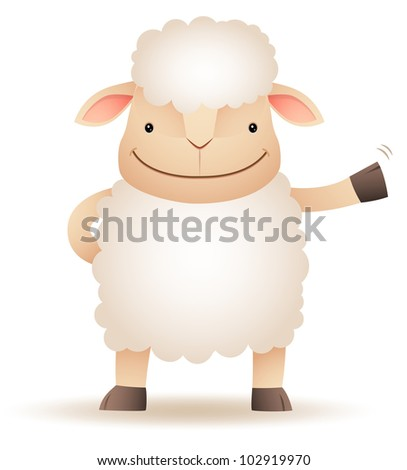 Illustration of Shepy the sheep smile and waving hand - stock photo