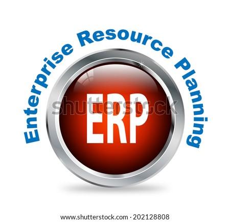 Illustration of shiny round glossy button of enterprise resource planning  - erp - stock photo