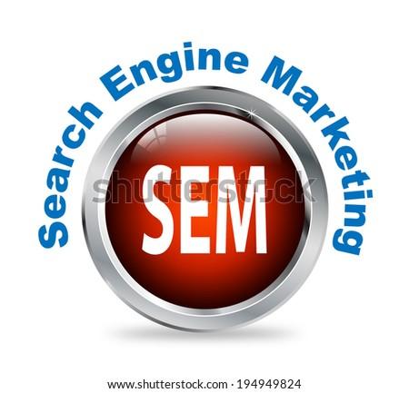 Illustration of shiny round glossy button of search engine marketing  - sem - stock photo