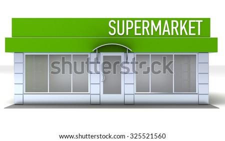 Illustration of shop or minimarket kiosk. Exterior - stock photo