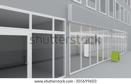 Illustration of shop or office facade exterior