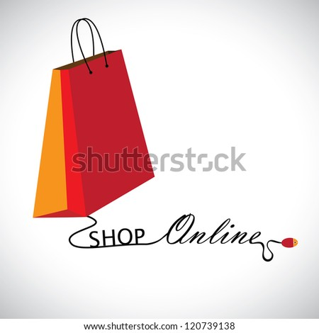 "Illustration of shopping online using a technology. The graphic contains a shopping bag symbol linked to a mouse with the wire forming words ""shop"" & ""online"" - stock photo"