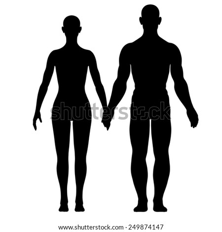Illustration of silhouette of woman and man