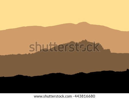illustration of silhouettes of mountains in yellow tones