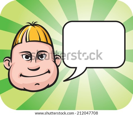 illustration of Silly face with speech bubble - stock photo