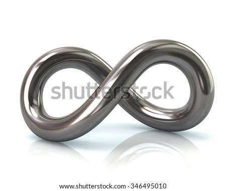Illustration of silver infinity symbol - stock photo