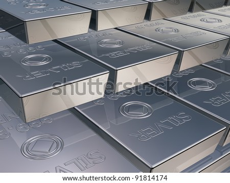 Illustration of silver reserves piled high in a stack - stock photo