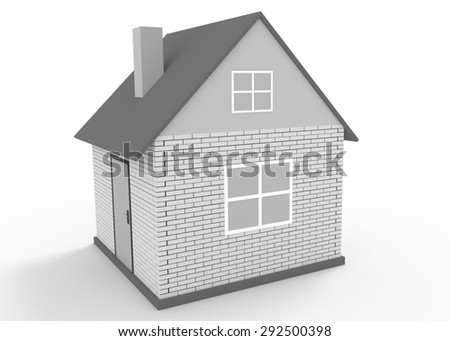 Illustration of simple 3d  house isolated on white. Construction concept - stock photo