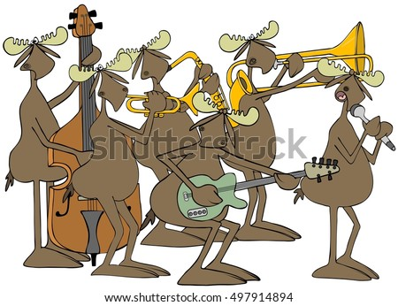 Illustration of six bull moose playing in a jazz band.