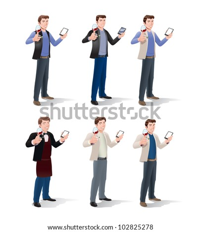 illustration of six businessman hold glass of wine hold hand phone with white blank screen over isolated background - stock photo