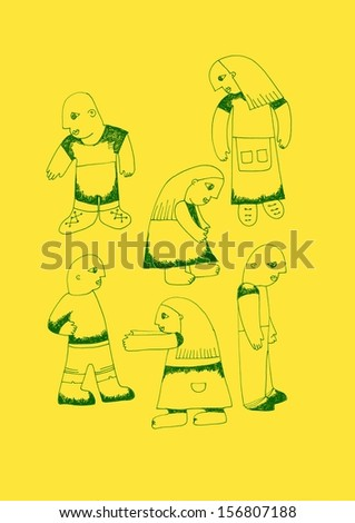 illustration of six people standing on  yellow paper