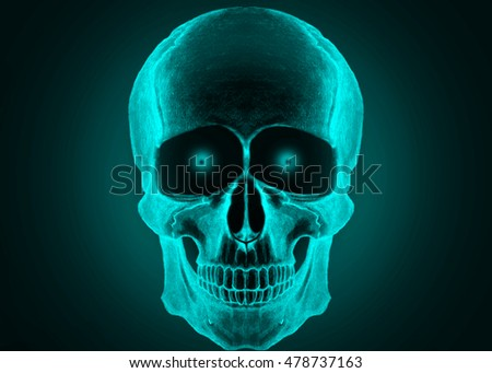 illustration of skull, blue color/unusual form of human skull/human skull with the eyes, hypnotic sight/abstract human skull, blue and black/blue x ray of a human skull