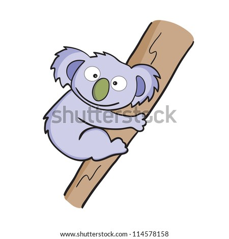 Illustration of smiling cute cartoon koala.Raster version. - stock photo