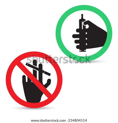 illustration of smoking signs. Electronic cigarettes allowed.  tobacco cigarettes are banned - stock photo