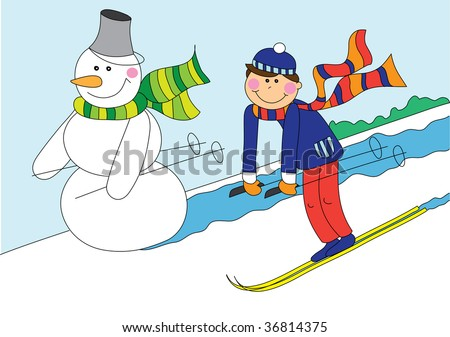 illustration of snowman and boy skiing, cartoon