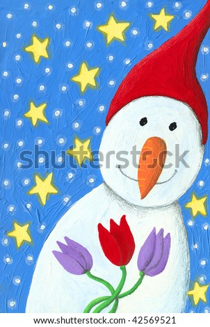 Illustration of Snowman with tulips