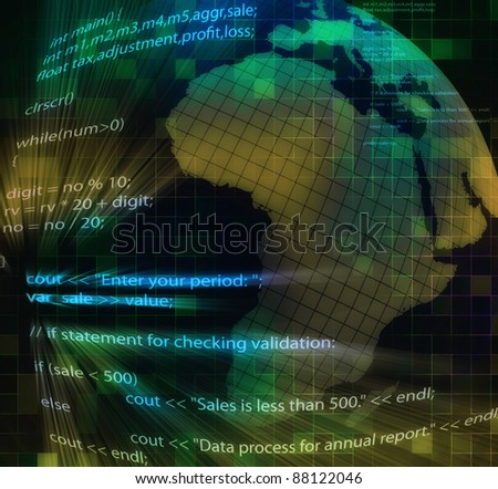 Illustration of software coding on the abstract global background - stock photo