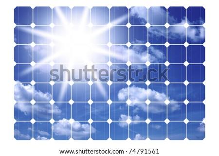 illustration of solar panels isolated on a white background - stock photo