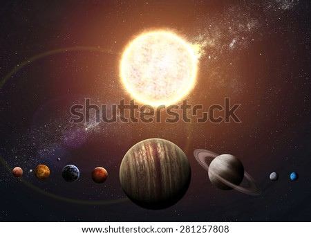 Illustration of solar system showing planets around sun. Elements of this image furnished by NASA - stock photo