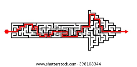 Illustration of solved labyrinth puzzle maze created in arrow shape  - stock photo
