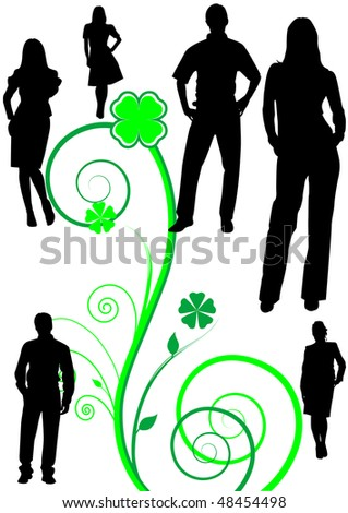 Illustration of some business men and women on an abstract background
