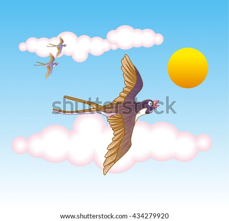 Illustration of some swallows flying in the sky