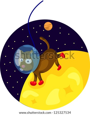 illustration of  space dog running on the moon