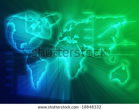 Illustration of Spreadsheet data and business charts in glowing wire frame style