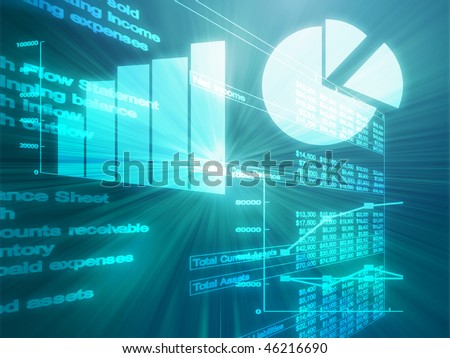 Illustration of Spreadsheet data and business charts in glowing wireframe style - stock photo