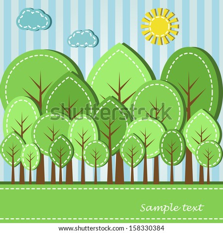 Illustration of spring or summer colored forest, dashed style - stock photo