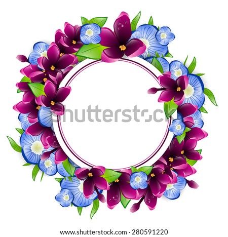 Illustration of Spring Wet Lilac and Forget-me-not Flower Round Frame, Copyspace - stock photo