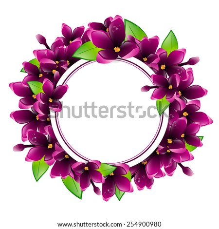 Illustration of Spring Wet Lilac Flower Round Frame, Copyspace - stock photo