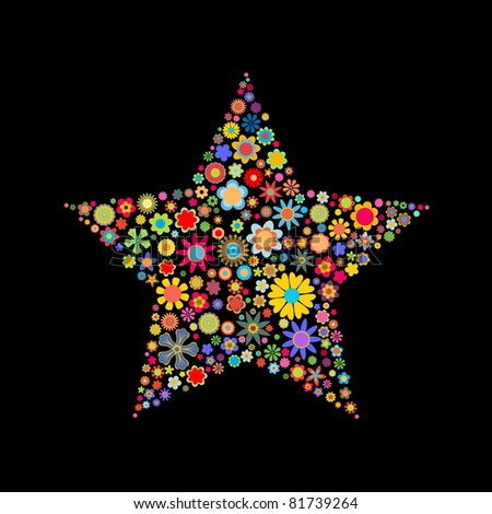 illustration of star shape made up a lot of  multicolored small flowers on the black background