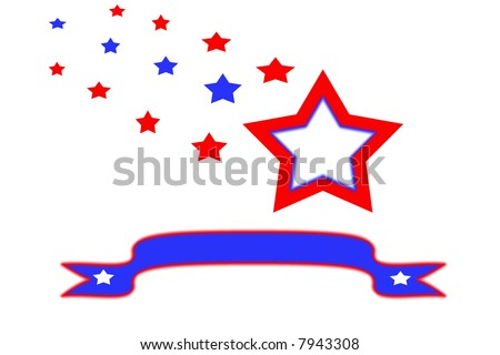illustration of stars and a banner all in red and blue on a white background. - stock photo